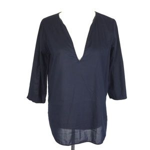 J. Crew Deep V Blouse Top Small Navy
